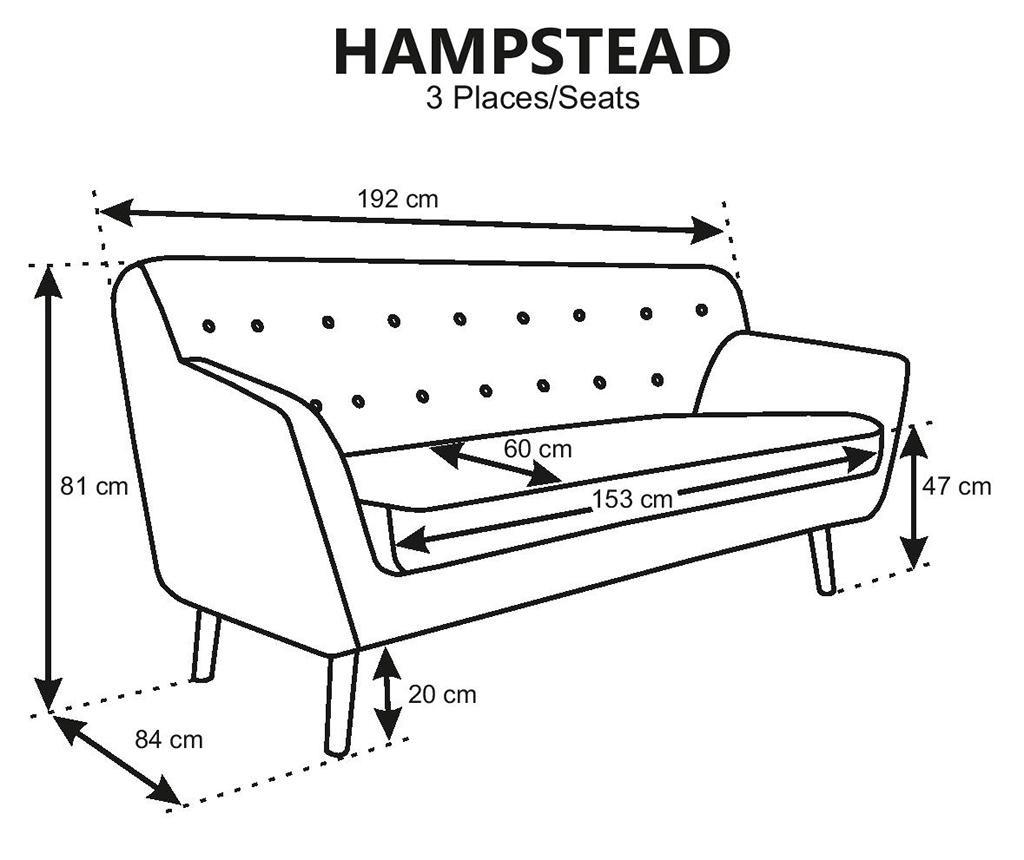 Canapea 3 locuri Hampstead Light Pink