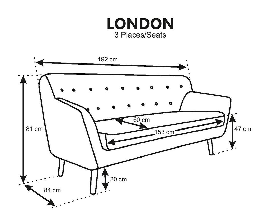 Canapea 3 locuri London Mint