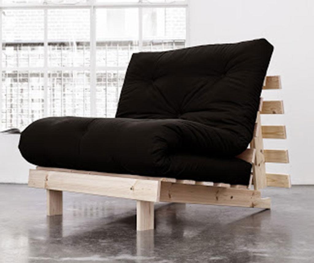 Sofa extensibila Roots Natural and Black 90x200 cm