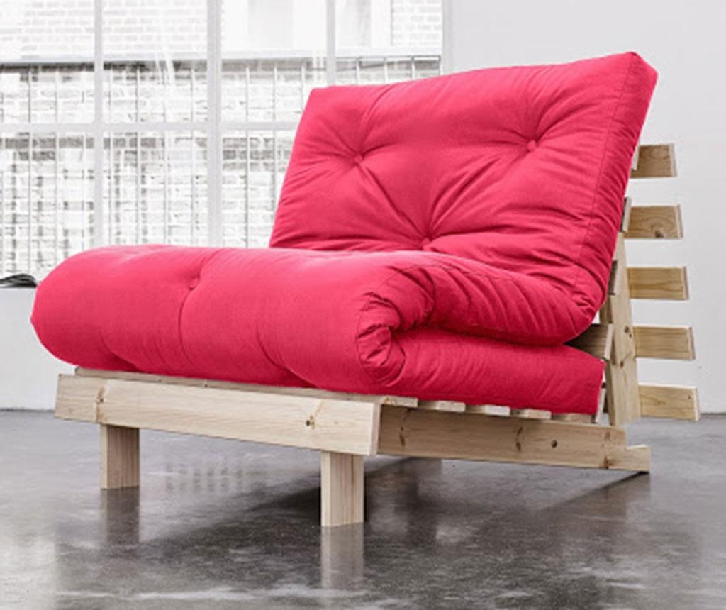 Sofa extensibila Roots Natural and Magenta 90x200 cm