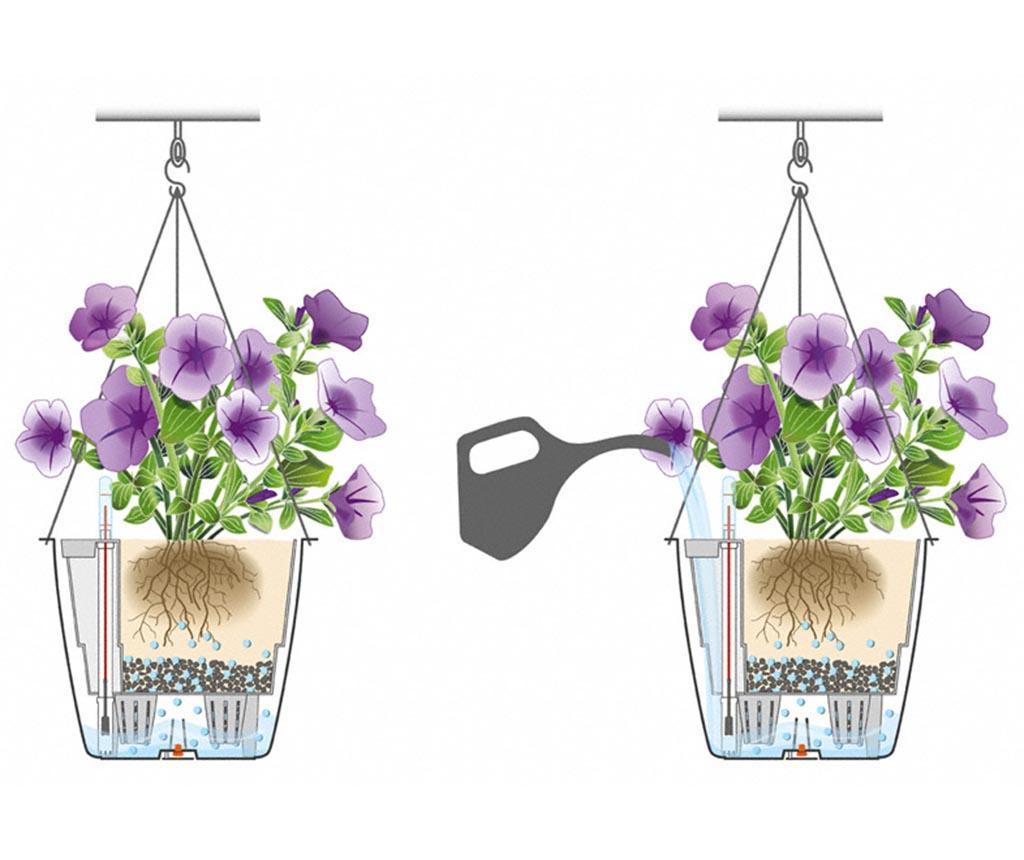 Set - cvetlični lonec z avto-namakalnim sistemom in viseče držalo Nido Brown