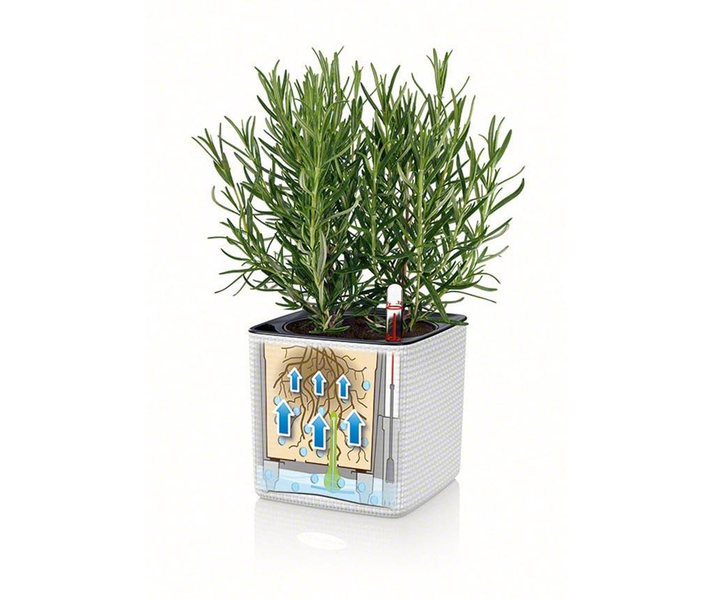 Set - cvetlični lonec z auto-namakalnim sistemom in držalo Cube Colors Grey