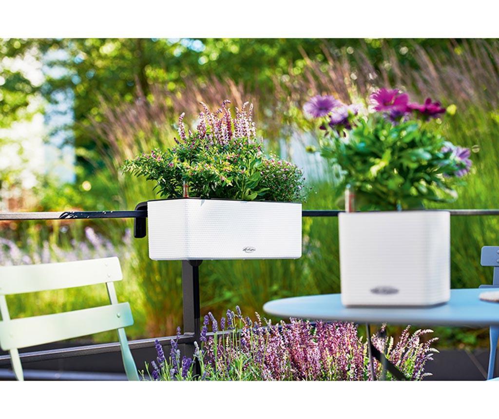 Set jardiniera cu sistem de autoirigare cu fitil si suport Balconissima White