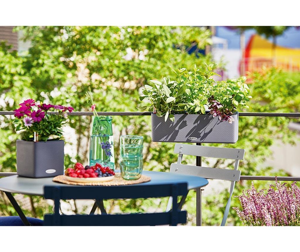 Set jardiniera cu sistem de autoirigare cu fitil si suport Balconissima Lime