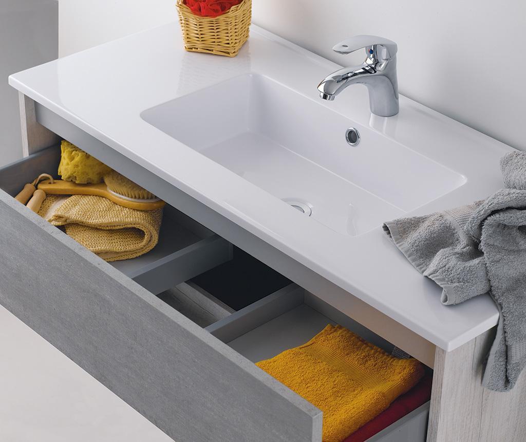 Czteroczęściowy zestaw mebli łazienkowych Plus White Ash Cemento