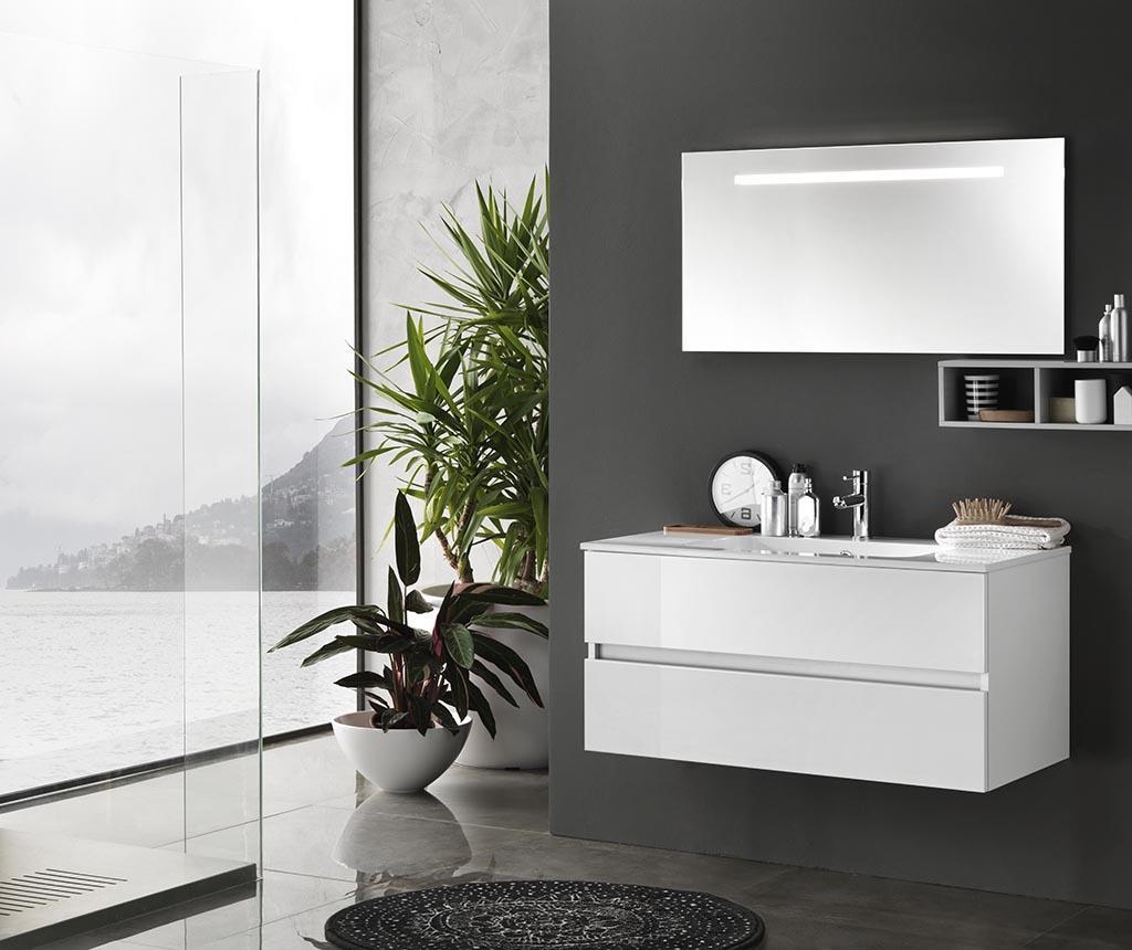 Czteroczęściowy zestaw mebli łazienkowych Bali Rack Gloss White