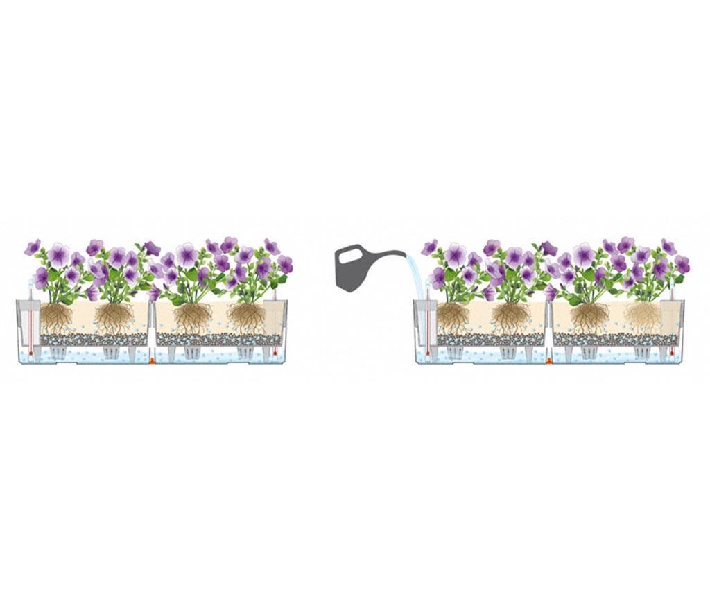 Set 2 jardiniere cu sisteme autoirigare si suport Balconera Two Soft Nutmeg