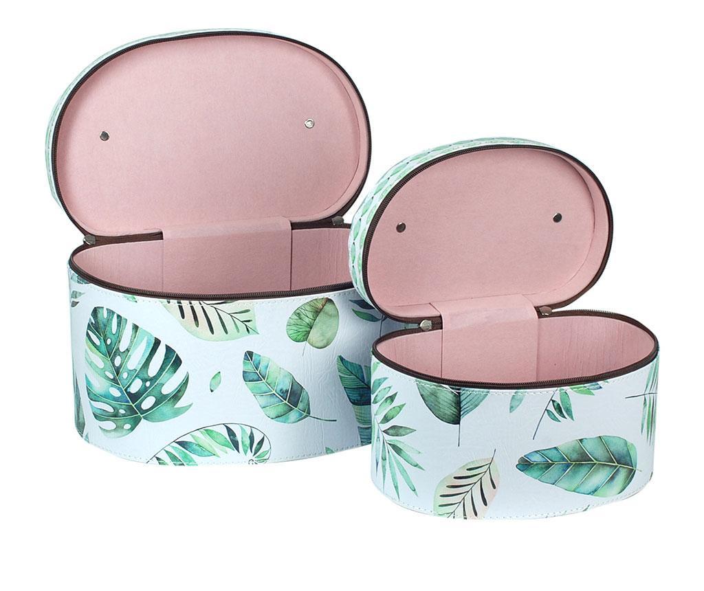Zestaw 2 pudełek z pokrywką Tropical Leaf