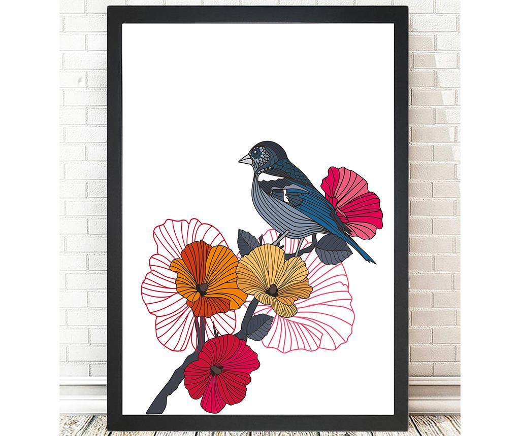 Tablou Geometric Bird on Flower 24x29 cm