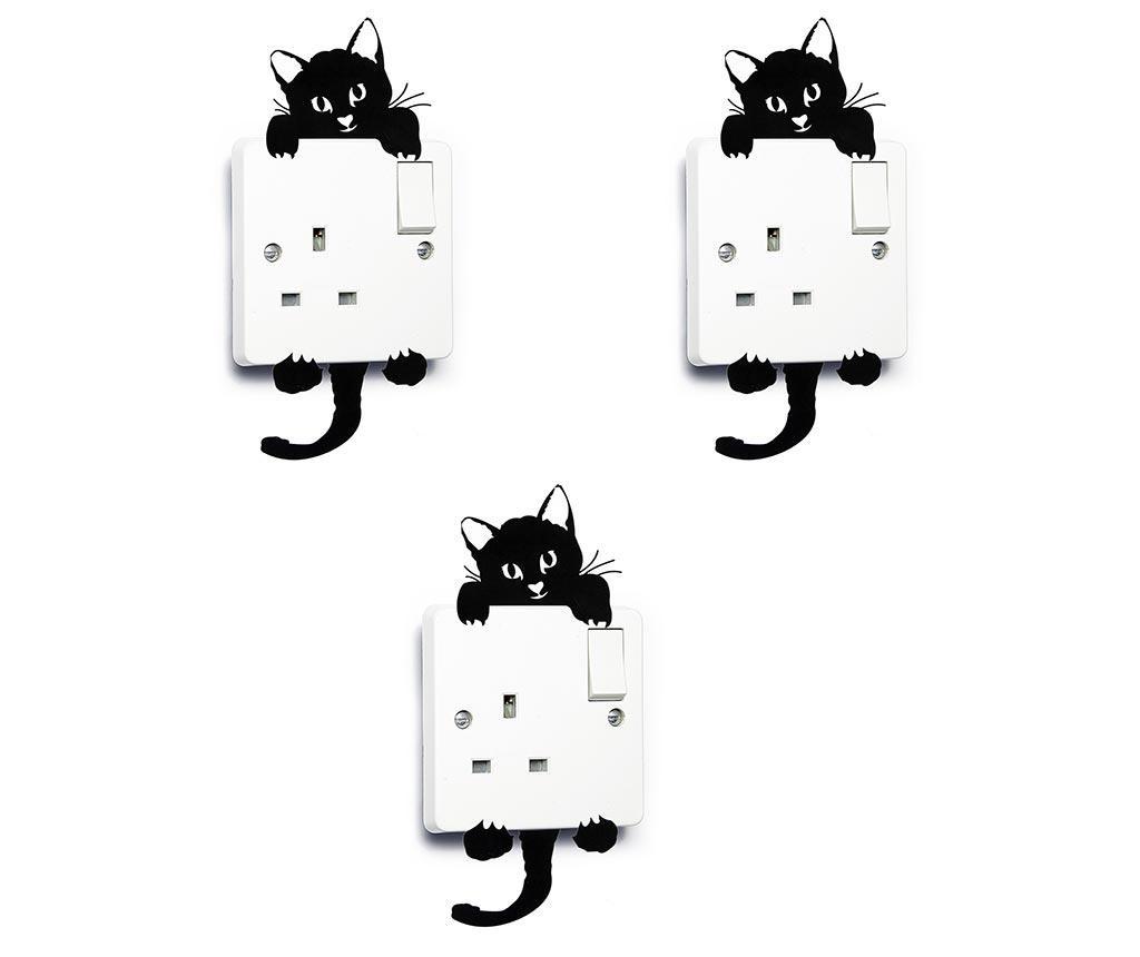 Set 3 stickere pentru intrerupator Cute Cat