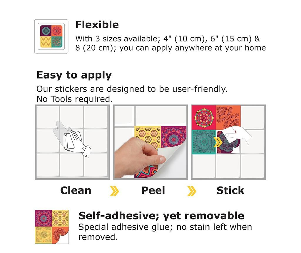 Set 12 stickere Colourful Mandala