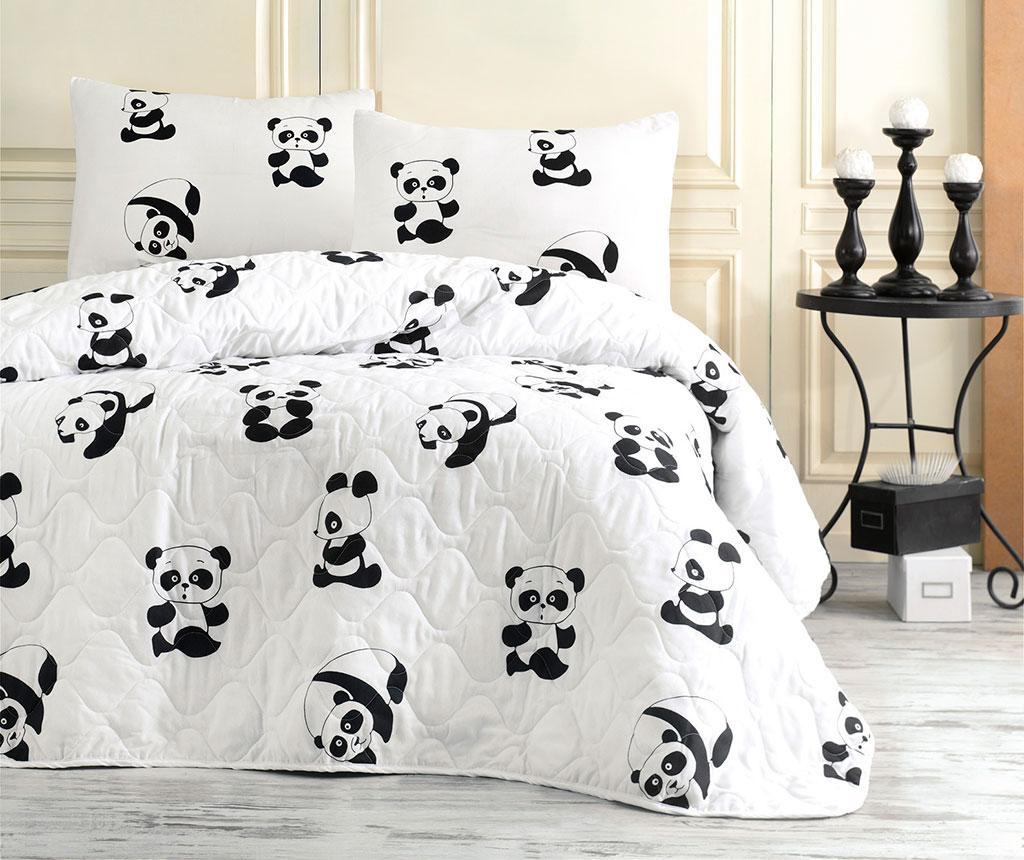 Set s prešitim posteljnim pregrinjalom Double Panda