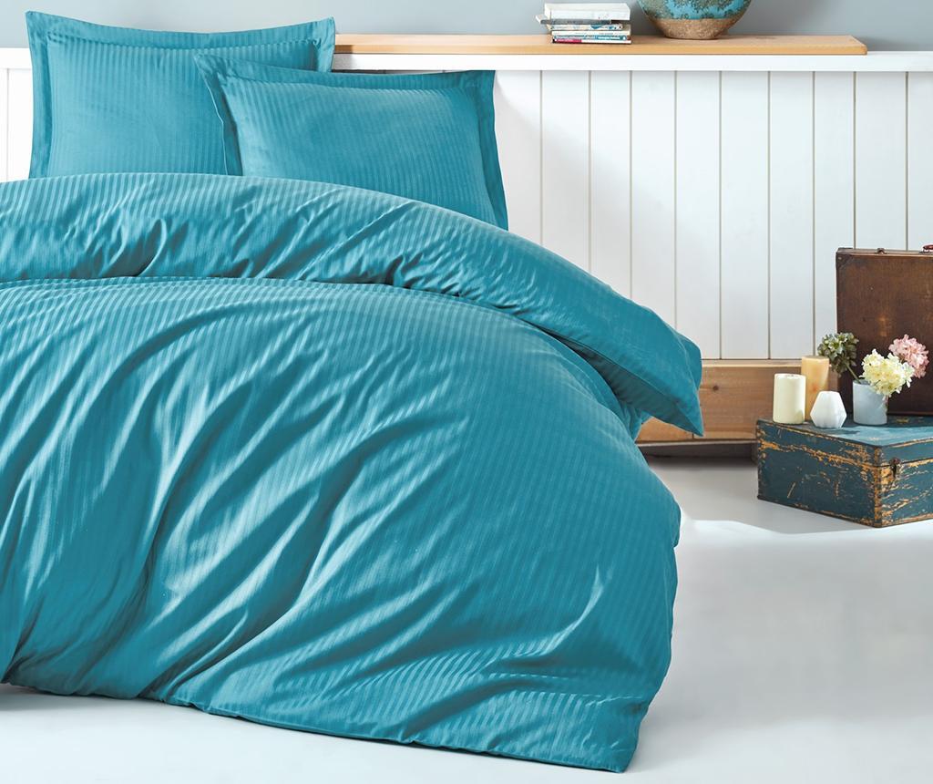 Stripe Turquoise King Szatén Ágynemű