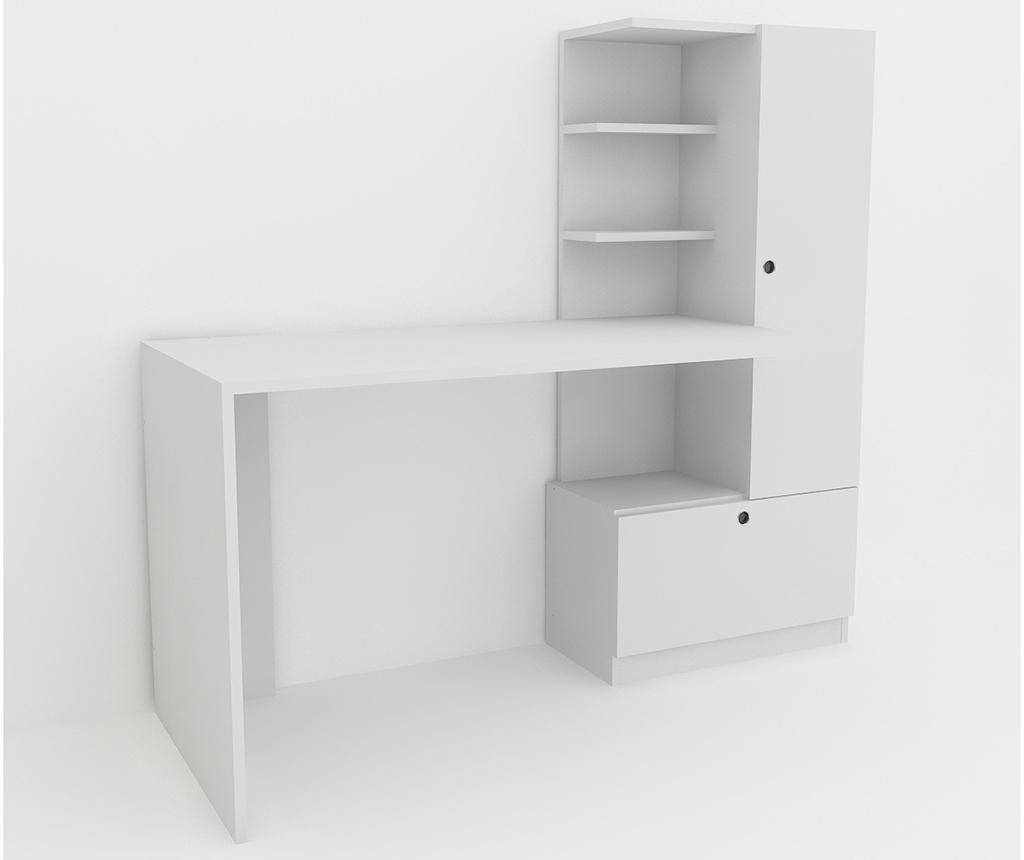 Pisalna miza s knjižno omaro Merinos White