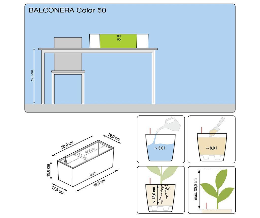 Cvetlično korito s samo-namakalnim sistemom in držalom Balconera Soft Pistachio