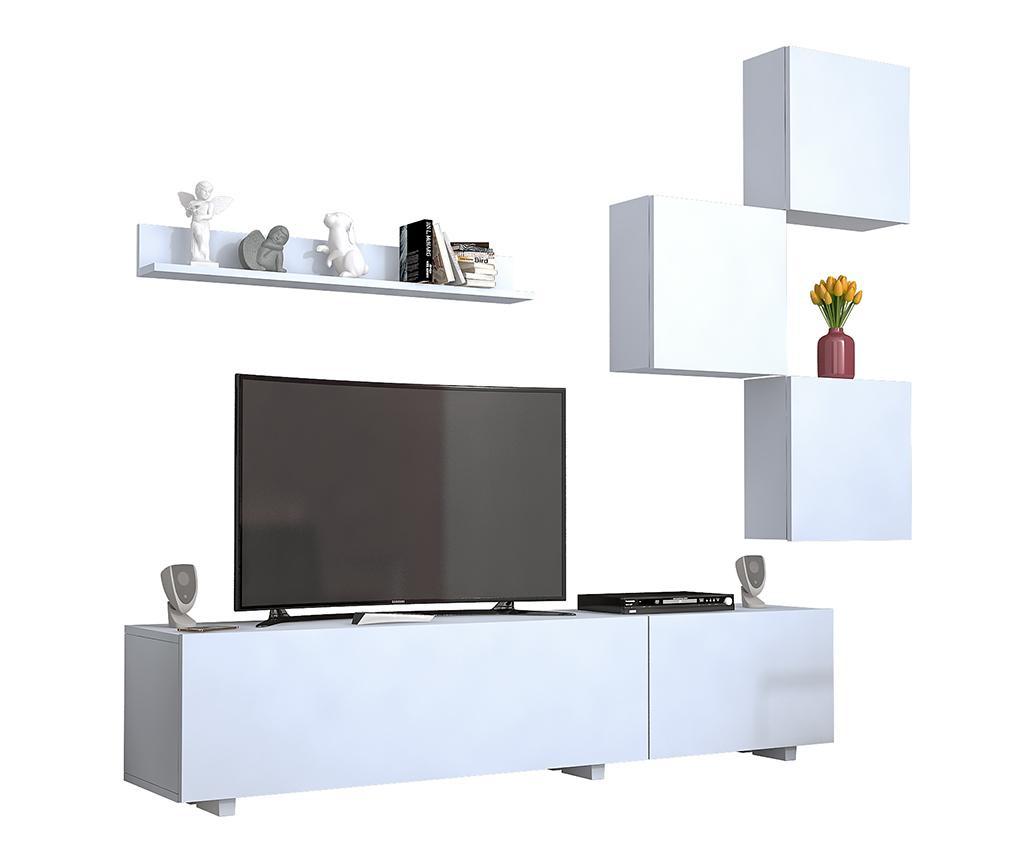 Set comoda TV, 3 corpuri suspendabile si raft de perete Guney