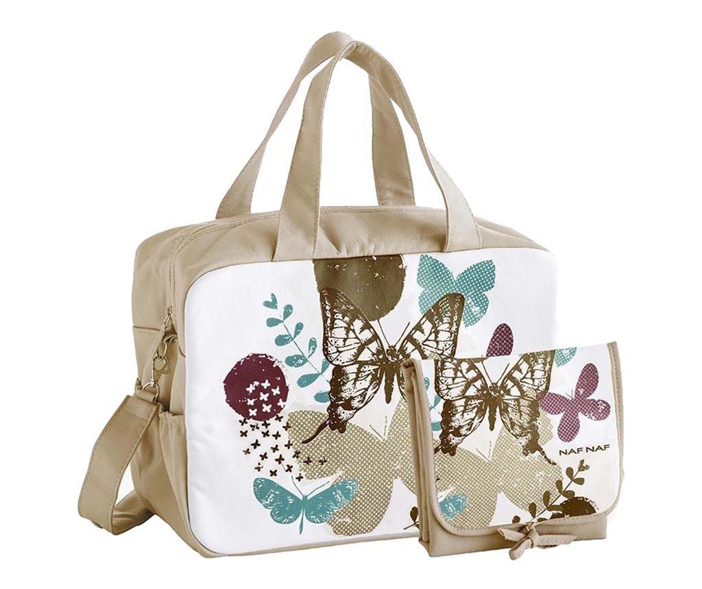 Sada taška a skladací matrac na prebaľovanie Butterfly Beige