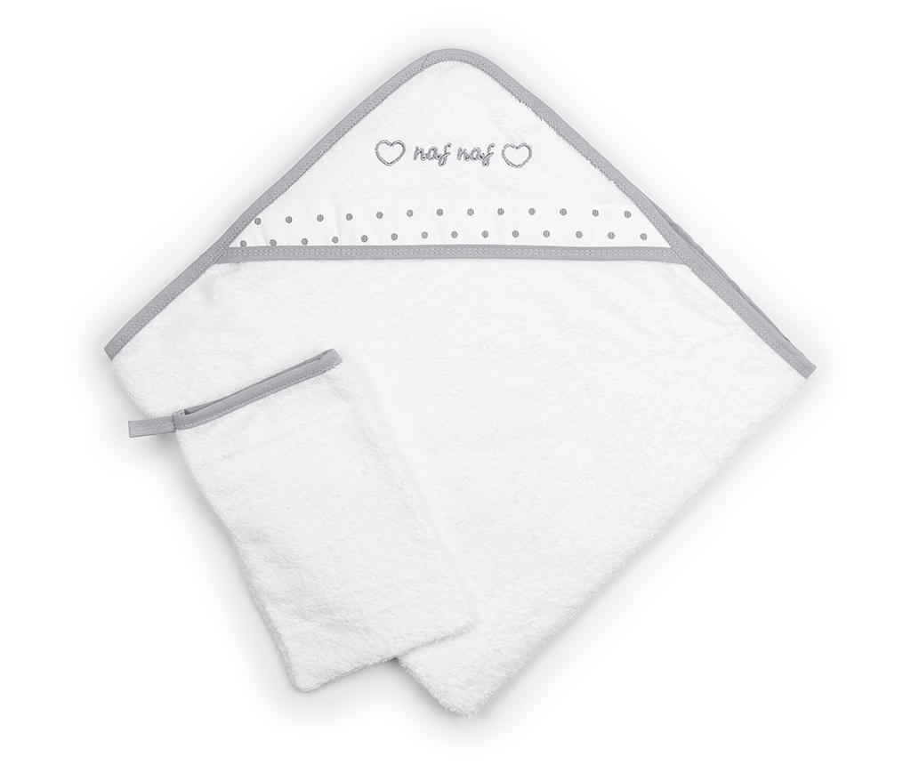 Set ručnik sa kapuljačom i rukavica za kupanje Heart