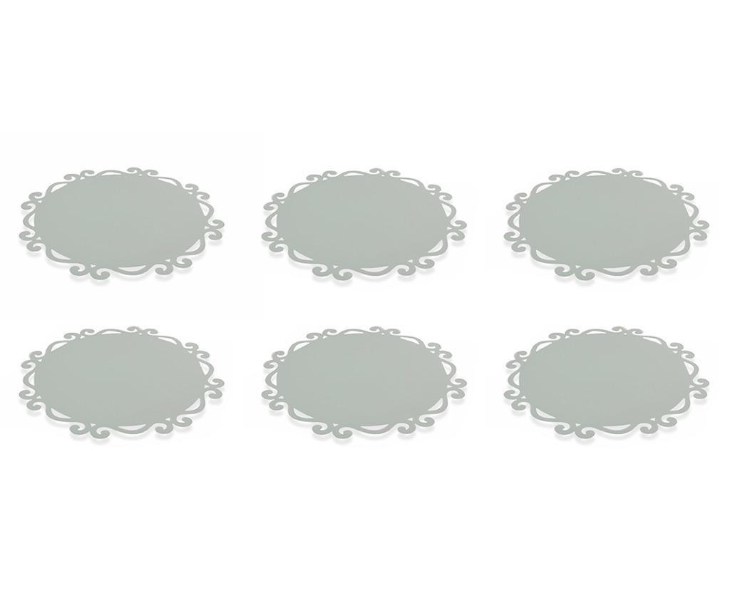 Set 6 podmetača Dorian Round Grey 44 cm
