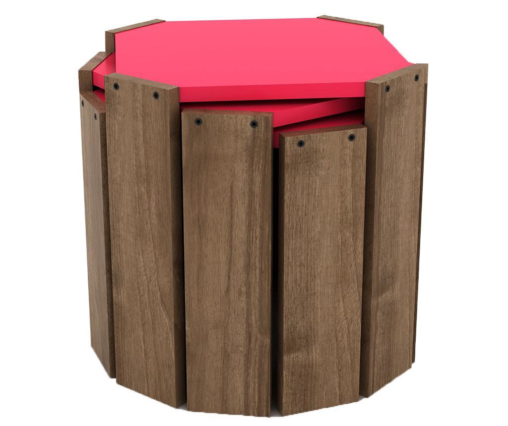 Sada 3 stolíkov Rafevi Hansel Walnut Pink