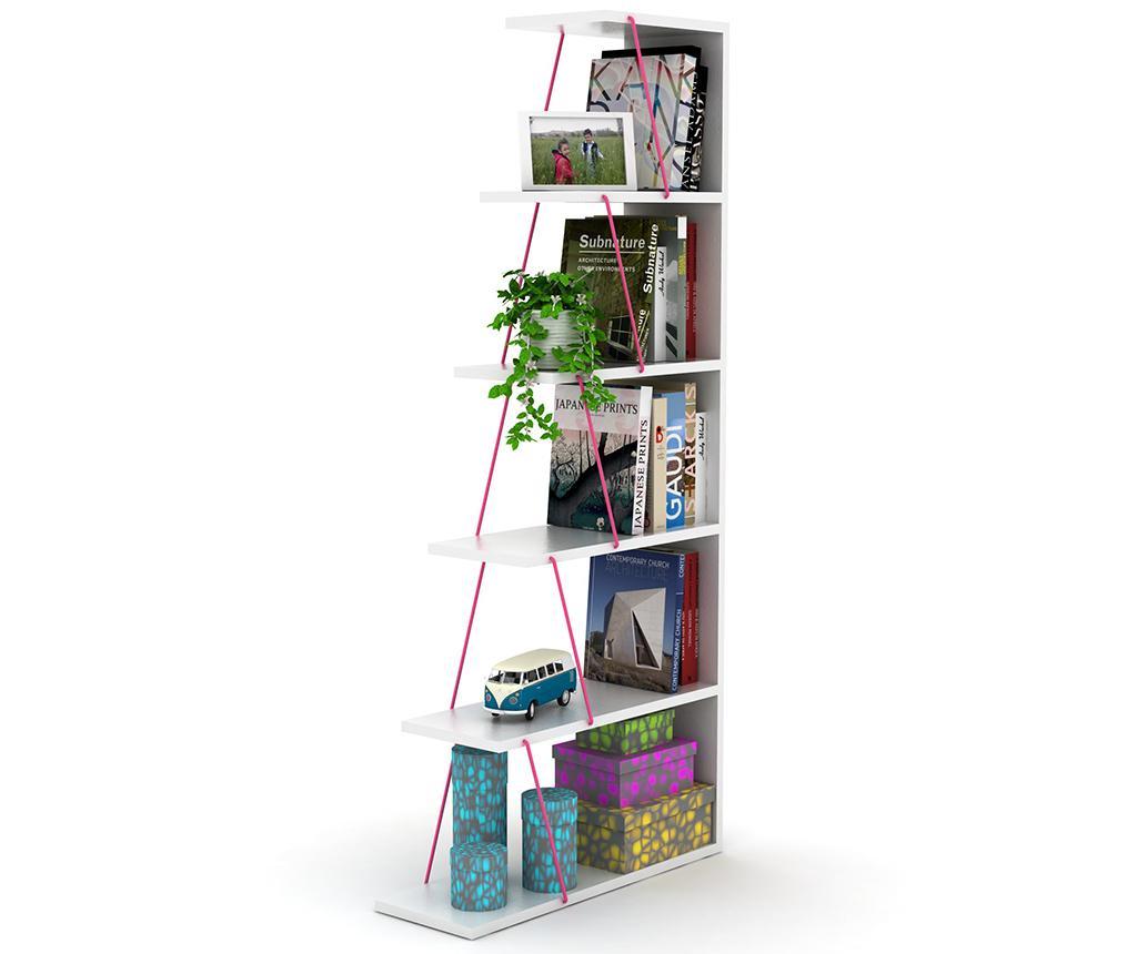 Knižnicový diel Tars White Pink