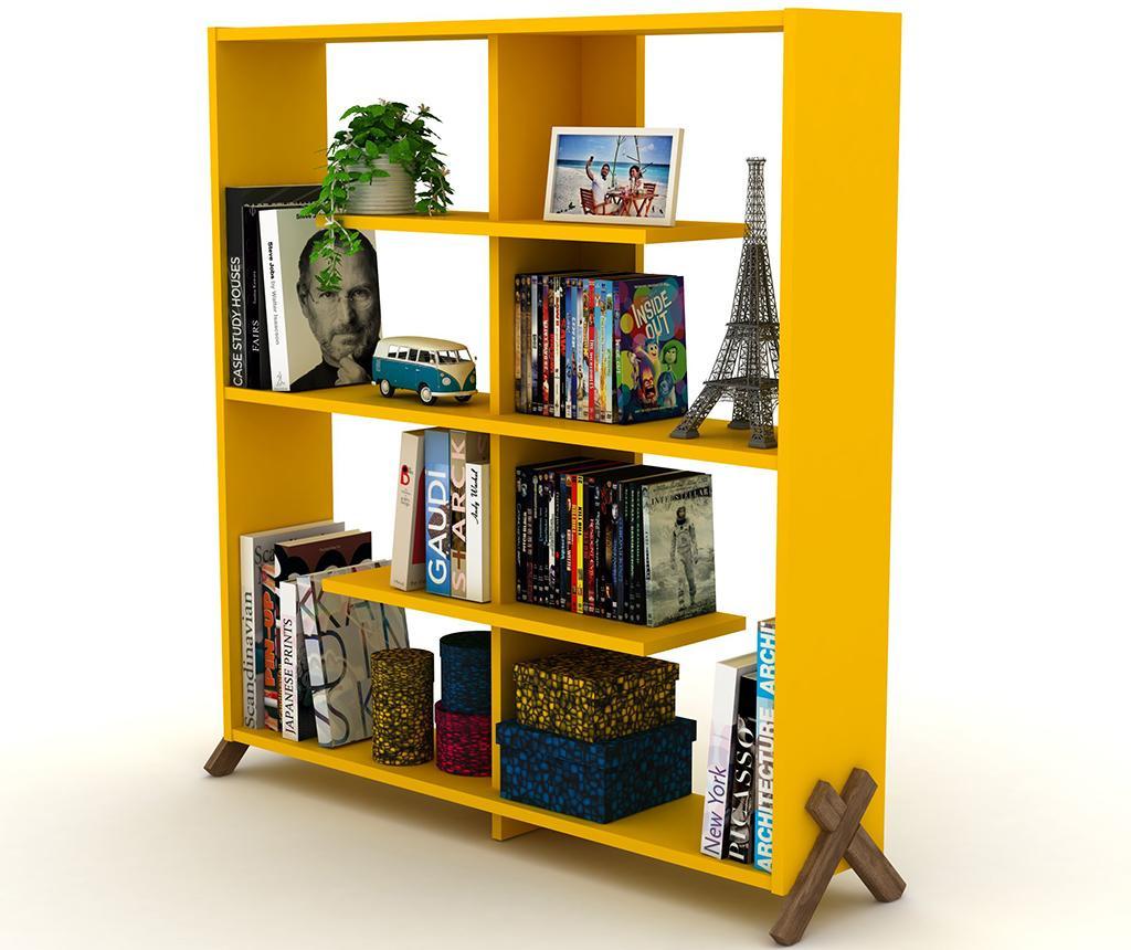 Knihovna Kipp Walnut Yellow