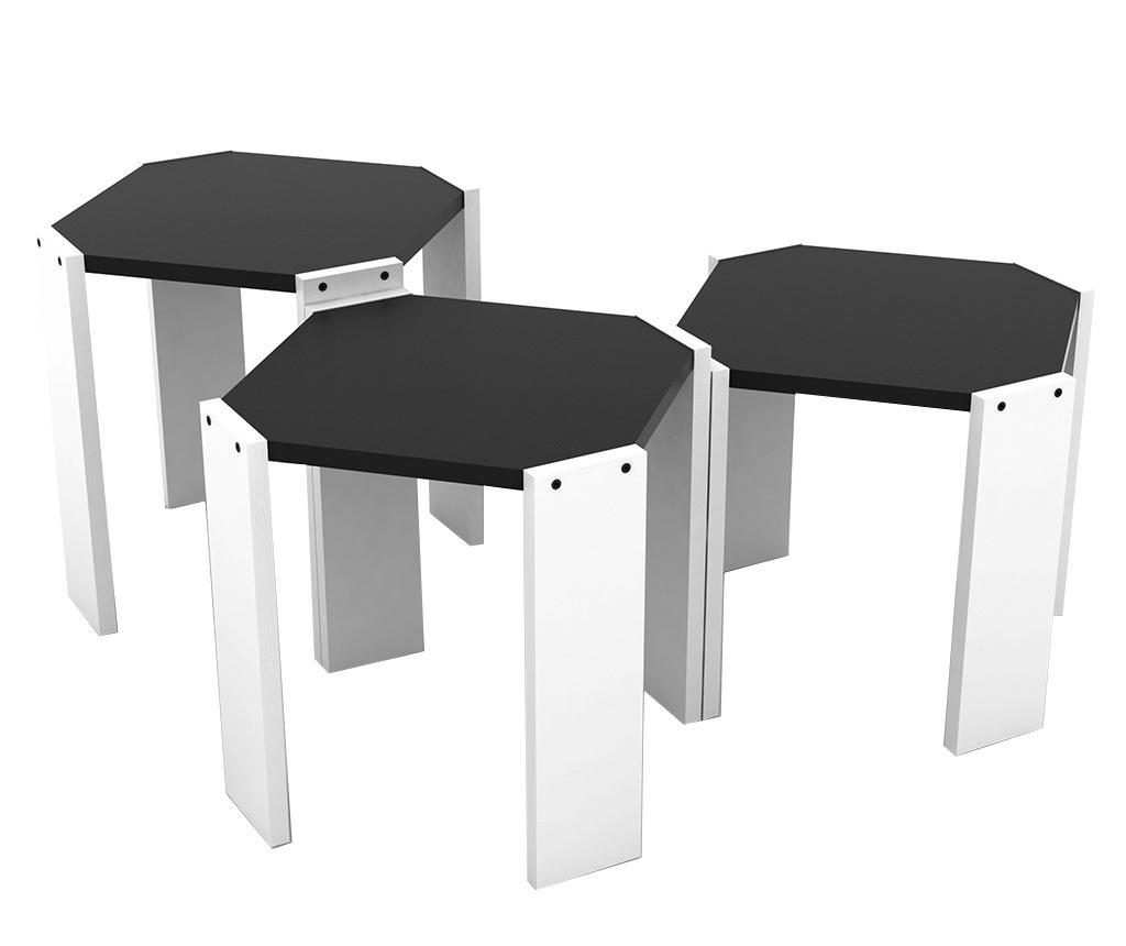 Rafevi Hansel White Black 3 db Asztalka