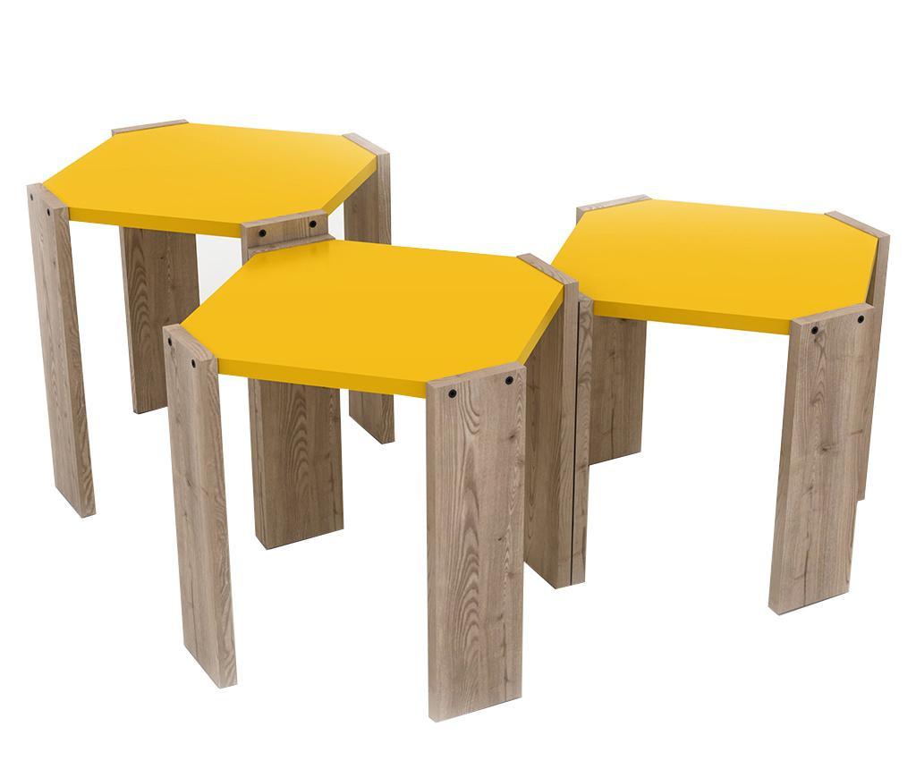 Set 3 masute Rafevi Hansel Oak Yellow