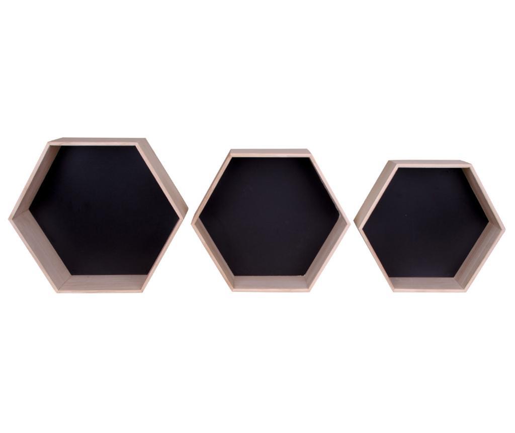 Set 3 rafturi de perete Garda Natural Black