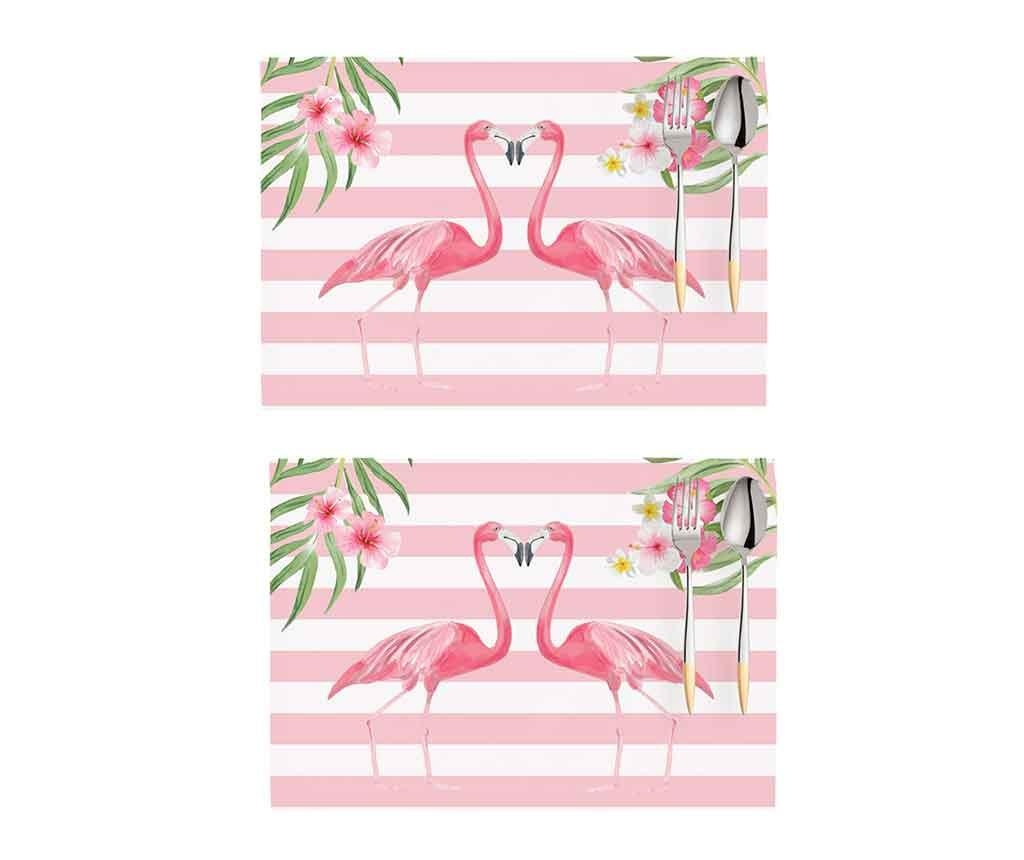 Set 2 pogrinjkov Flamingo Love Story White and Pink 33x45 cm