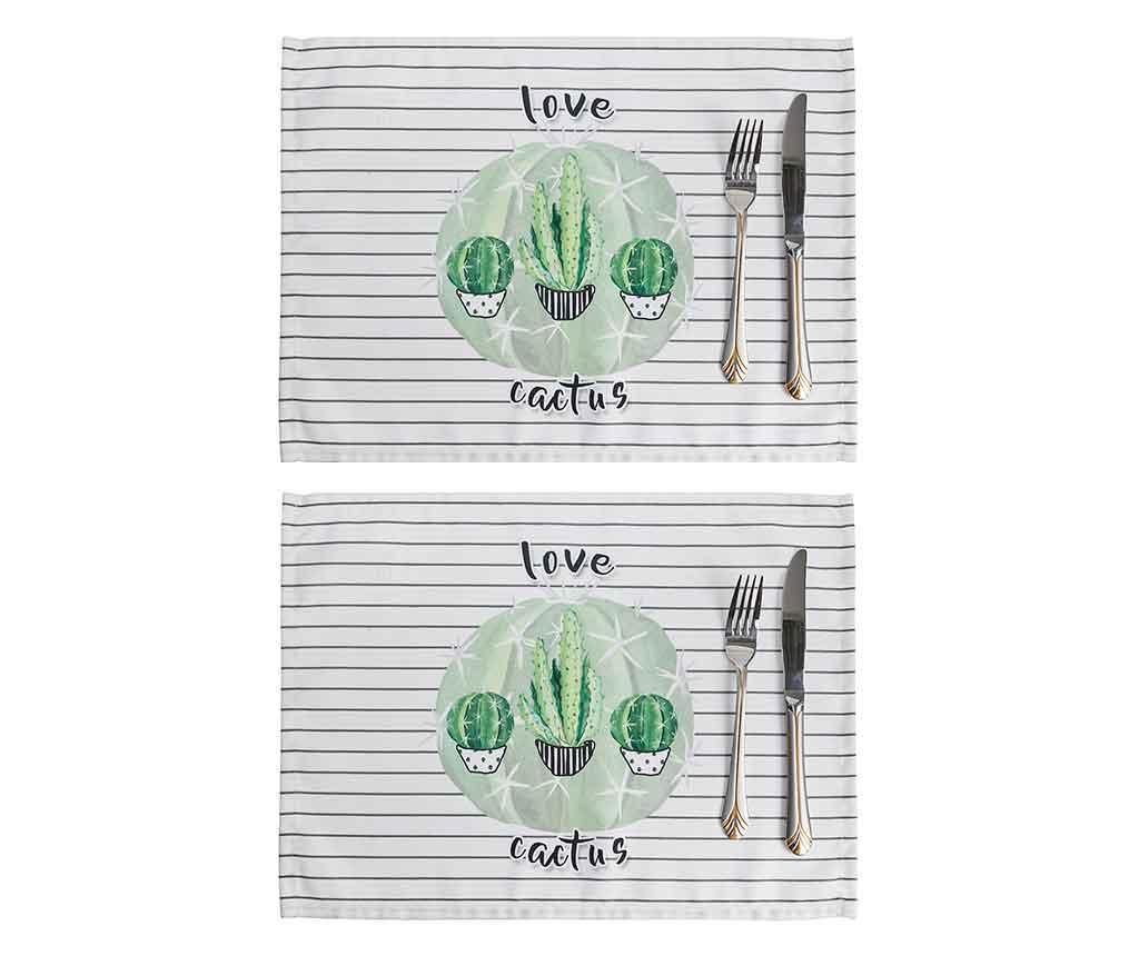 Set 2 podmetača Love Cactus 33x45 cm