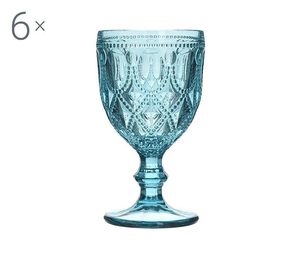 Set 6 pahare cu picior pentru apa Jael Blue 200 ml