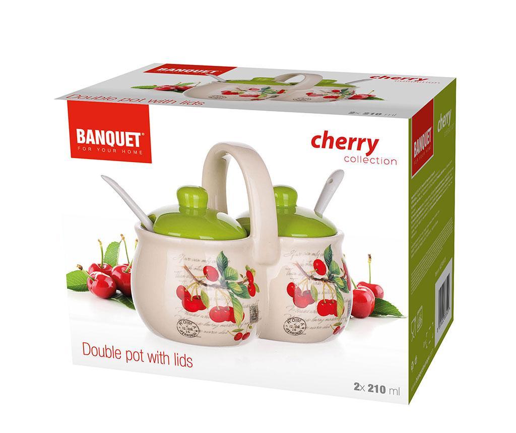 Recipient dublu cu capac si lingurite Cherry 420 ml