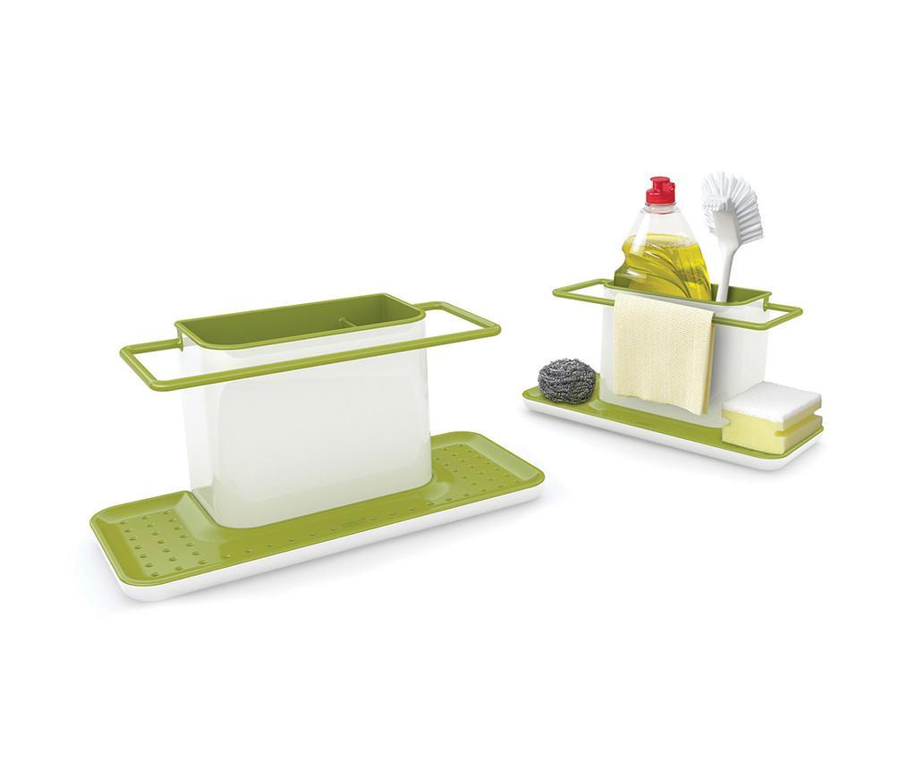 Suport pentru burete si perie de spalat vase Caddy Biggie White & Green
