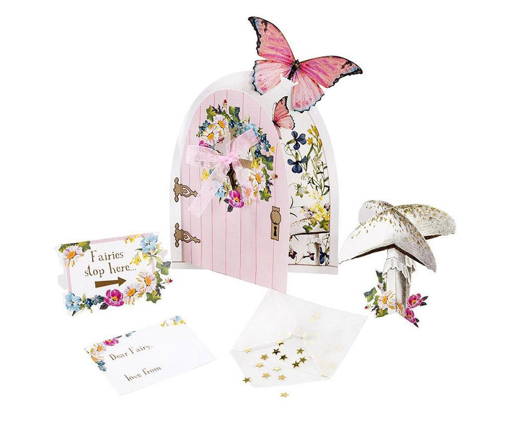 Fairy Door 3 db Asztali dekoráció és 3 db üdvözlőlap kiegészítőkkel