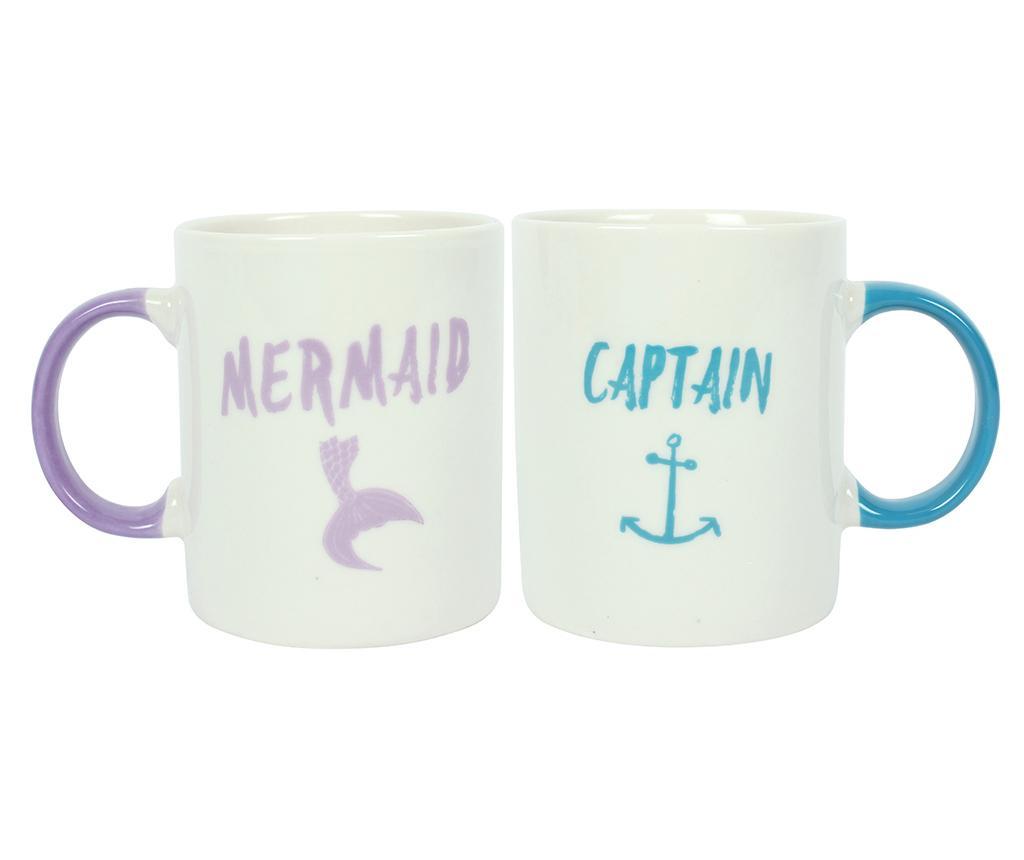 Set 2 šalice Mermaid and Captain 300 ml