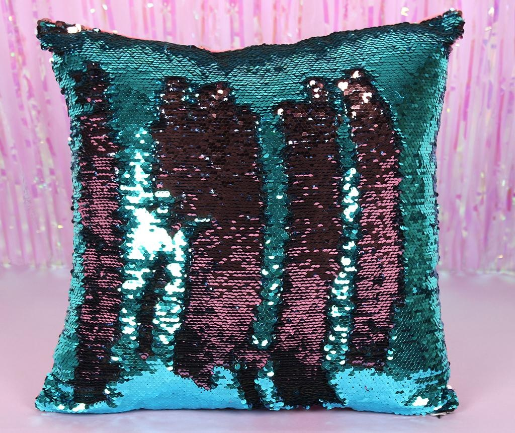Perna decorativa Sequin Blue and Pink 40x40 cm
