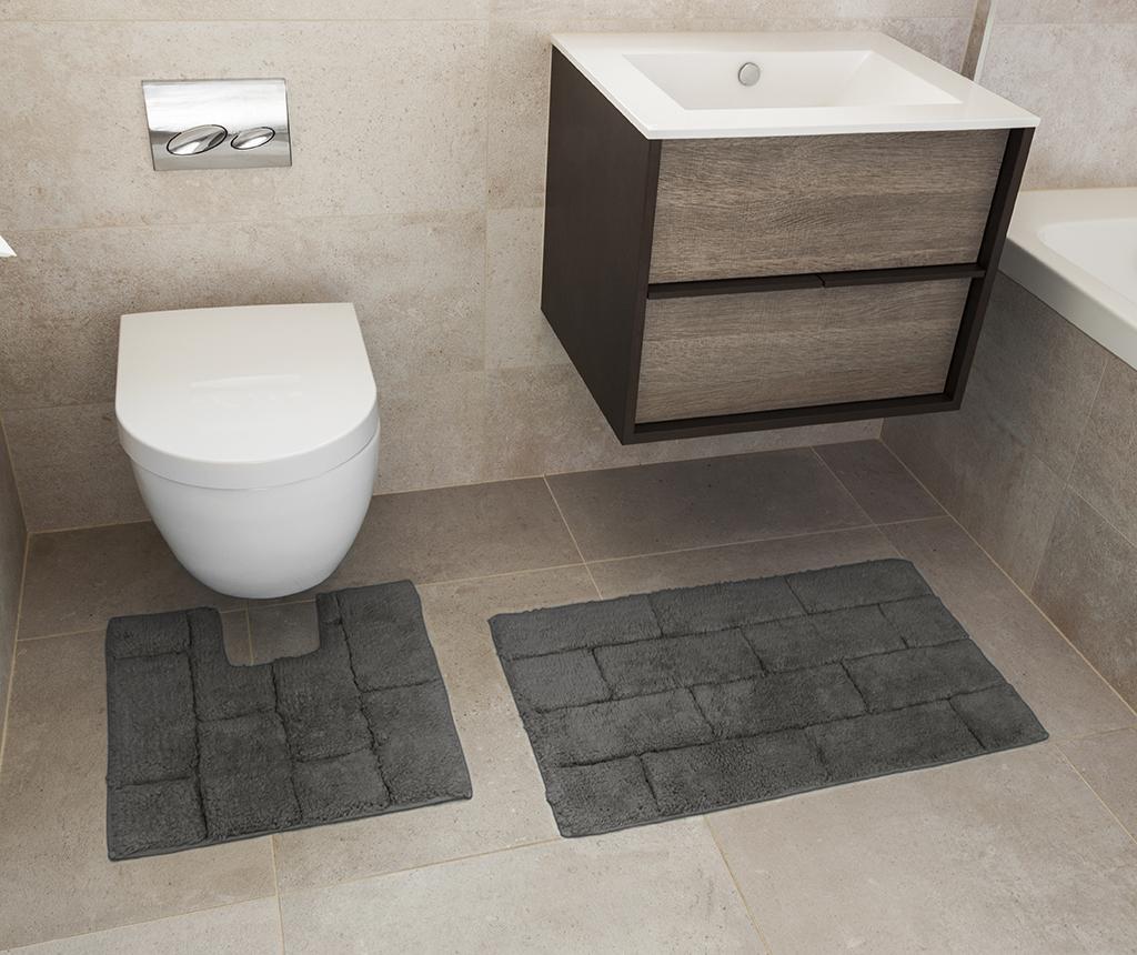 Set ručnik za noge i kupaonski tepih Quiana Charcoal