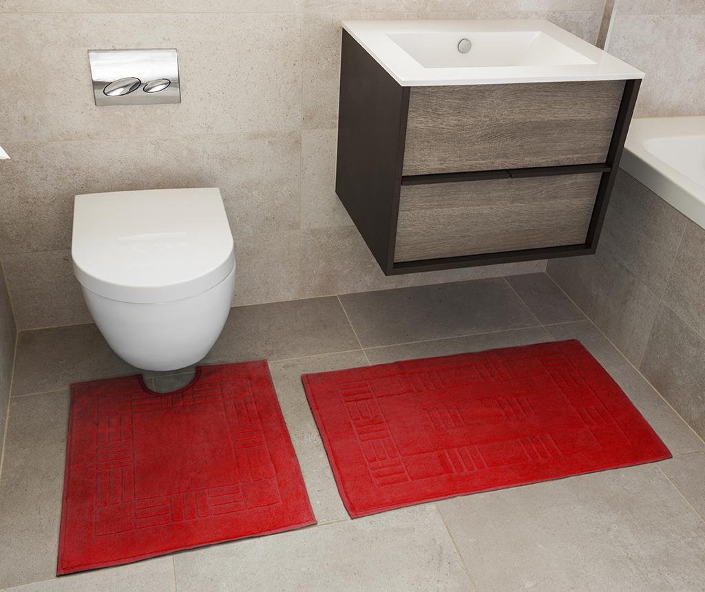 Sada uterák na nohy a kúpeľňová predložka Reversible Verica Red