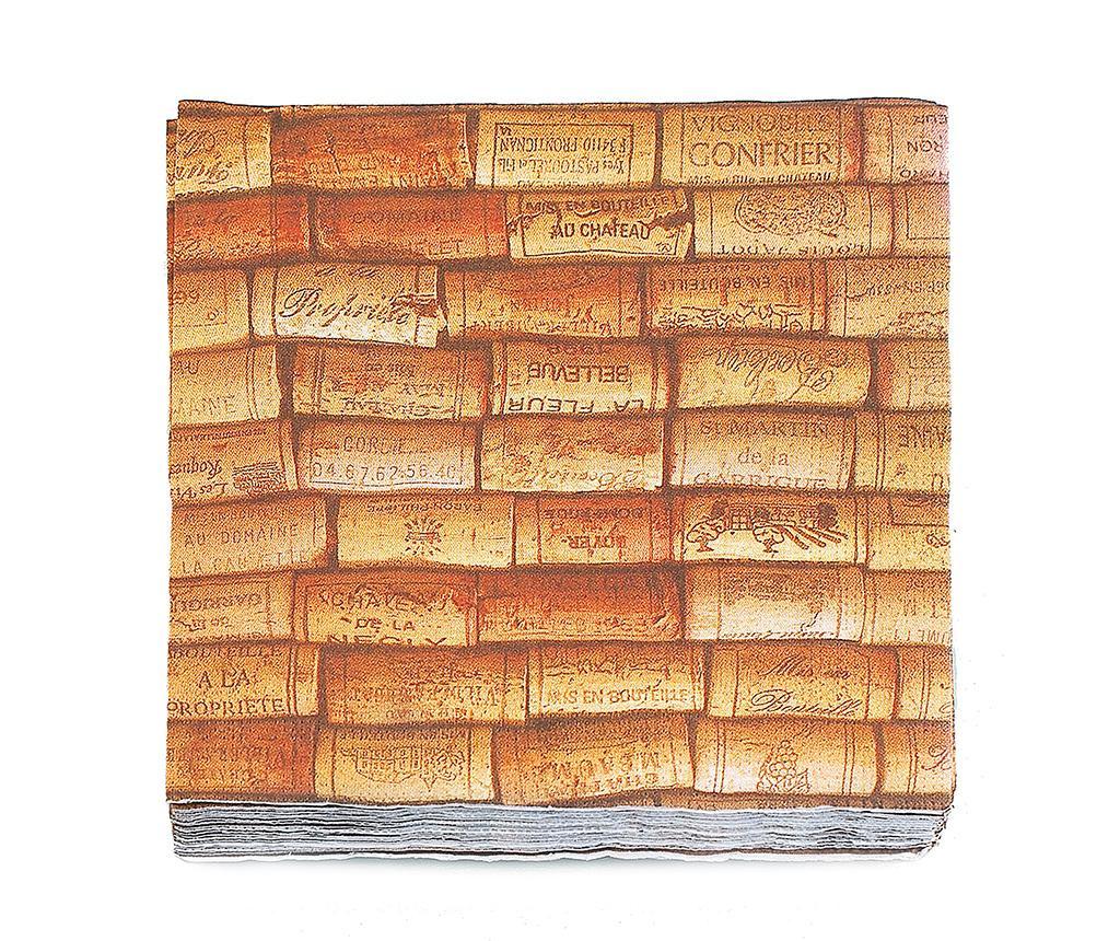 Set 20 serviet Cork Wine 16.5x16.5 cm