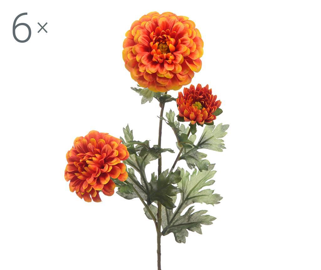 Set 6 flori artificiale Dahlia Orange