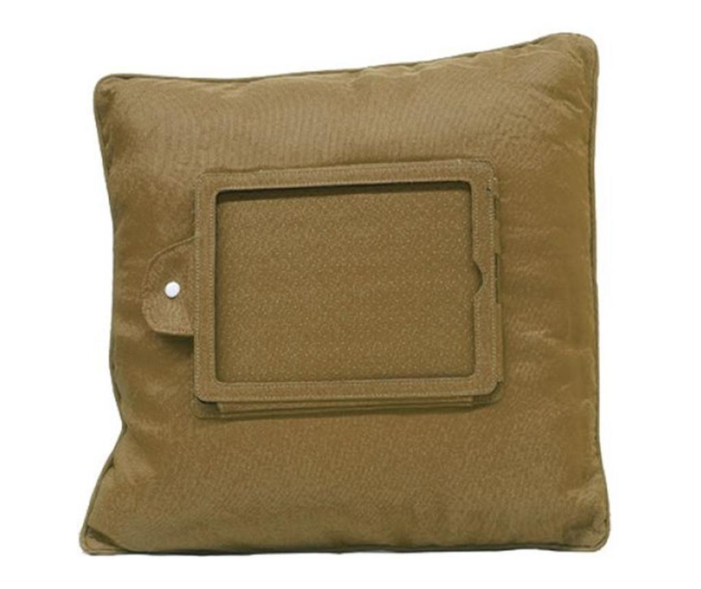Perna decorativa cu suport pentru tableta Zyron Brown 44x44 cm