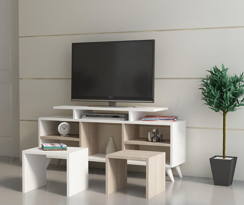 Set TV komoda i 2 stolića za kavu Kutay  White Cordoba