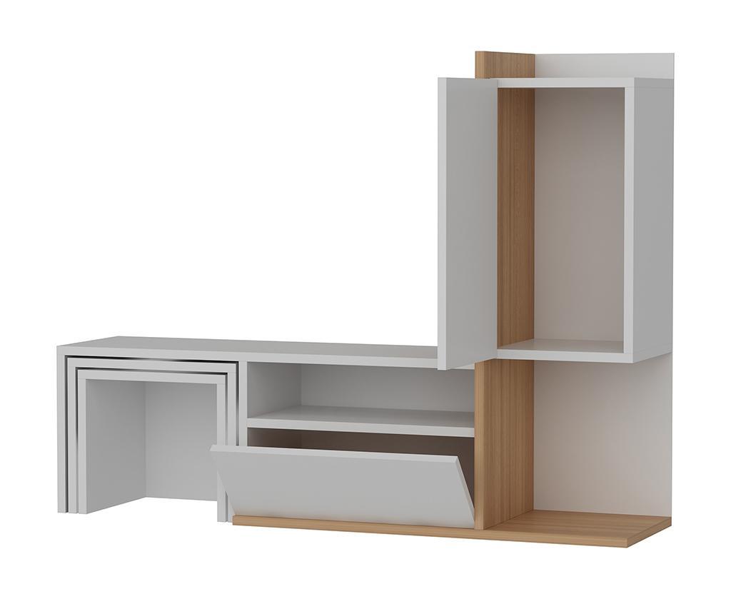 Set - TV omarica in 2 modularni mizici Begi  White Teak