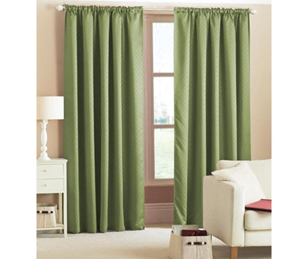 Set 2 draperii Blackout Woven Green 168x229 cm