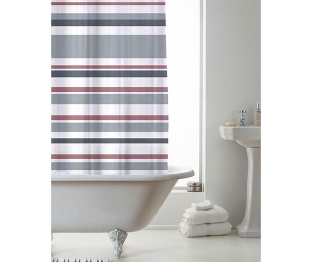 Zavesa za prho Ace Stripe Pink Grey 180x180 cm