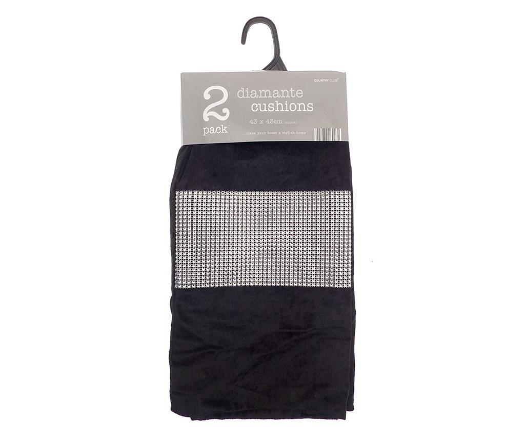 Set 2 prevlek za blazino Diamante Black 43x43 cm