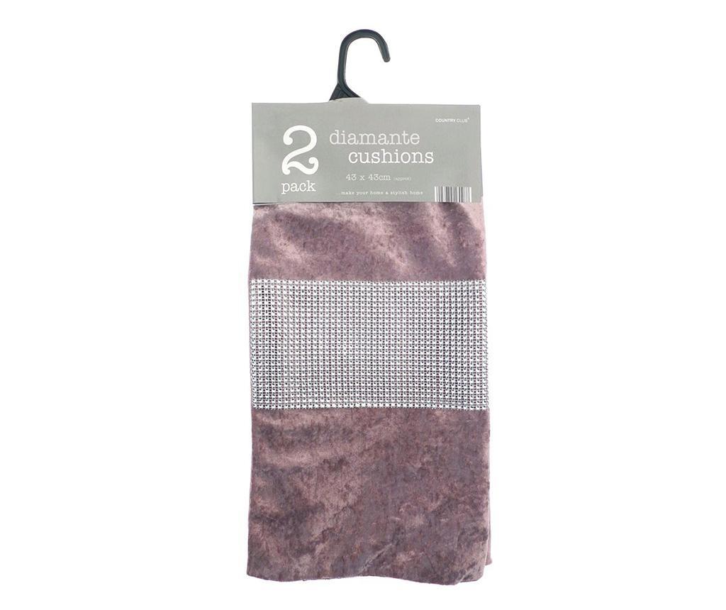 Комплект 2 калъфки за възглавница Diamante Pink 43x43 см
