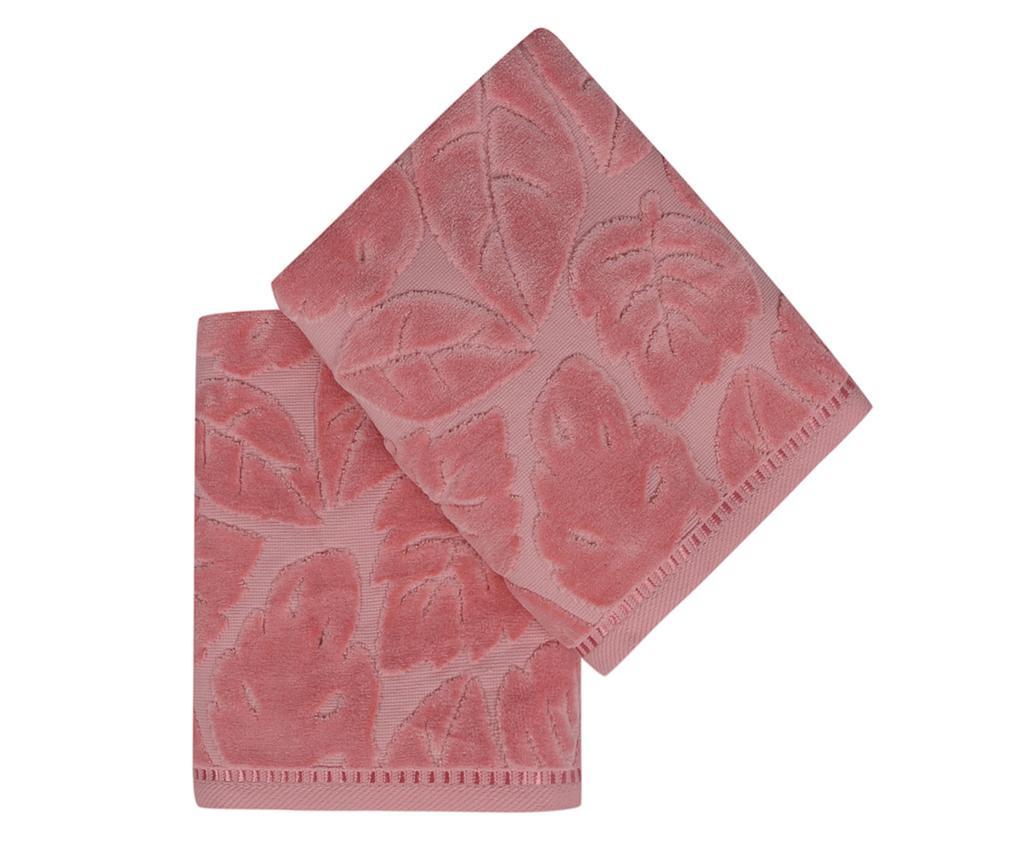 Set 2 prosoape de baie Kismi Kadife Yaprak Pink 50x90 cm