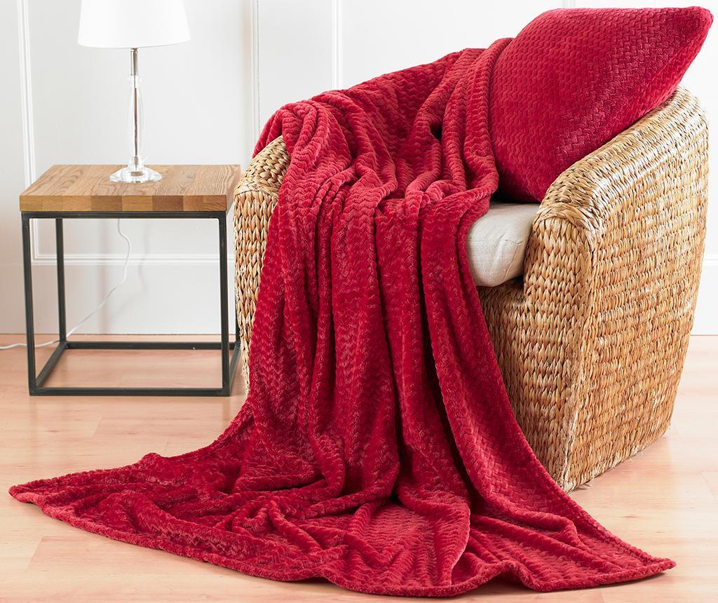Perna decorativa Chevron Fleece Red 43x43 cm